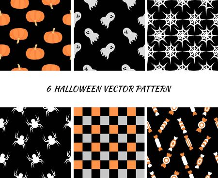 Set halloween seamless patterns. Pumpkins, skulls, sweets. Design for invitations, cards, wallpapers, gift wraps.
