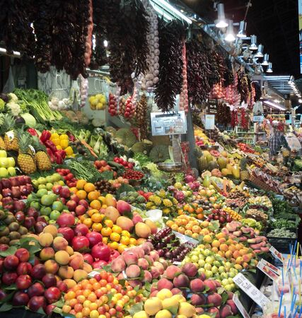 Fruit market. Exotic berries, nuts, fruits.
