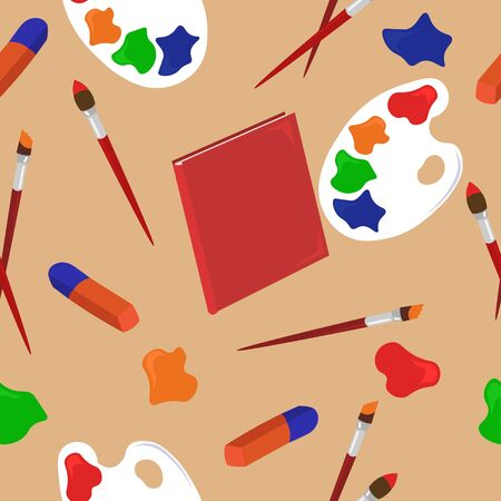 Stationery pattern. Objects for creativity and drawing. School design for banners, posters, covers. Ilustração