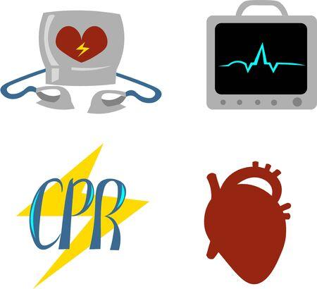 Set of objects for cardiopulmonary resuscitation. Urgent Care. Medical equipment. Defibrillator, ecg. Illustration