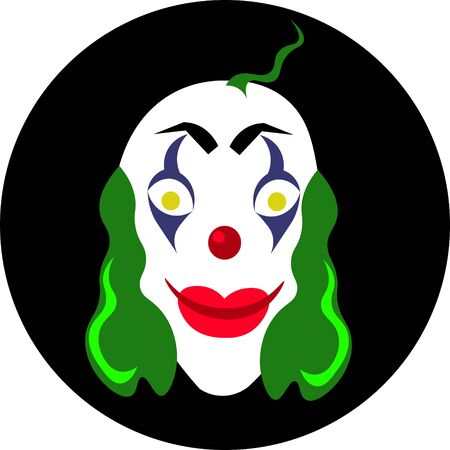 Scary clown mask. Green hair and makeup. Circus actor. Design for halloween.