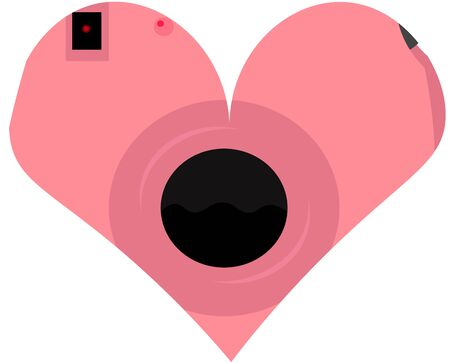 Heart from the camera. Delicate design for cards, flyers, decorations. Valentine's Day. Love and romance. Hobbies and entertainment.