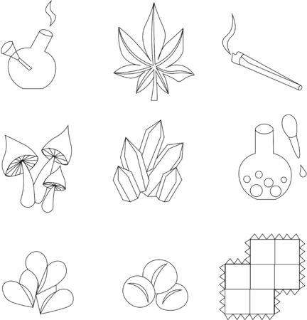 Set of icons for drugs. Marijuana, LSD brands, smoking products. Ilustración de vector