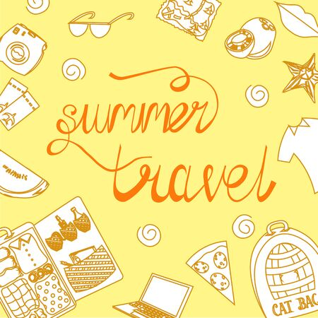 Summer trip. Travel to warmer countries. Beach. Lettering, fruits and things for tourism. Ilustração