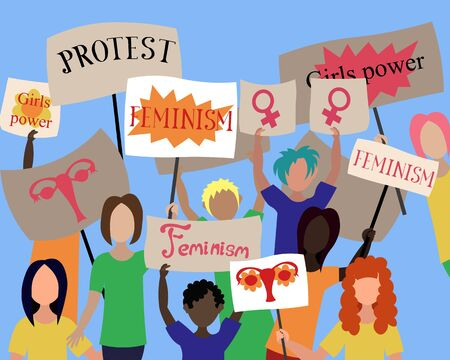 A group of protesting people with posters. Position, requirements. Feminism, girls power.