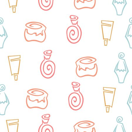 Seamless pattern. Cosmetics and hygiene. Antiseptics, gels and ointments. Shampoos, balms and creams. Design for background.