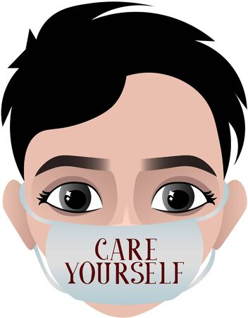 Take care of youself. Person in a medical mask. Epidemic, pandemic. Medical poster. Disease Prevention