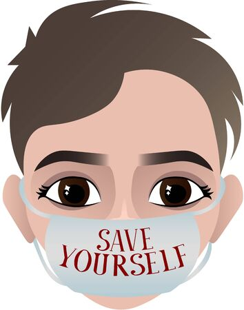 Save yourself. Person in a medical mask. Epidemic, pandemic. Medical poster. Disease Prevention