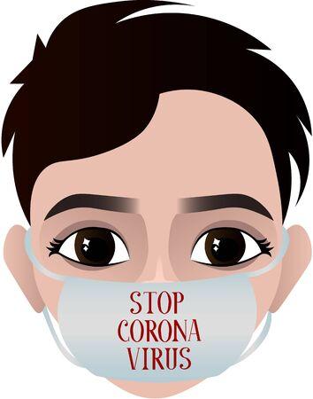 Stop coronavirus. Man in a medical mask. Epidemic, pandemic. Medical poster. Disease Prevention Illusztráció