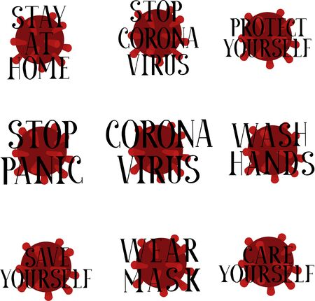Set of medical emblems. Stop coronavirus, prevention. Epidemic, pandemic. Lettering virus. Illusztráció