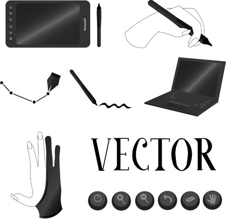 Objects for digital drawing. Tablet, laptop and stylus. Freelance work at home. Designers and artists. 版權商用圖片 - 143297935