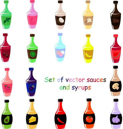 Set of vector bottles. Sweet syrups and various sauces. Design for menu, cafe and restaurant. Stock Illustratie