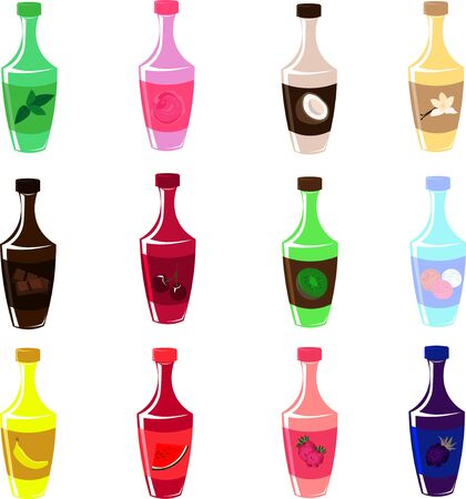 Set of vector bottles. Sweet syrups and toppings. Design for menu, cafe and restaurant.