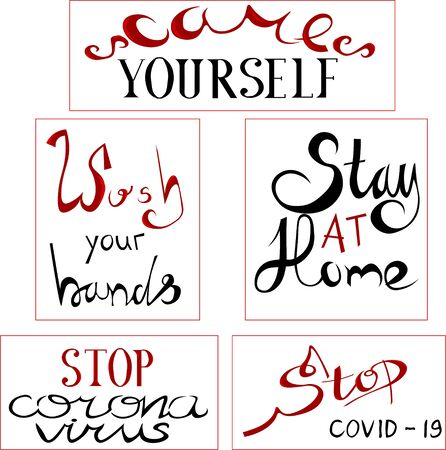 Coronavirus. Preventive measures. Plates with text. Lettering. Artificial calligraphy and antique.