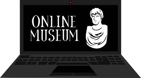 Online Museum. Statue and lettering. Notebook. Sculpture, bust. Stay at home.