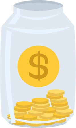 Deposit. Percentage contribution. Jar with coins. Dollars. Bank account.