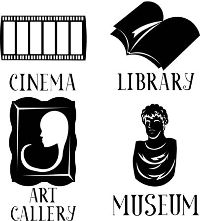 Set of intellectual entertainment. Museum, art gallery, library and cinema. Sculpture, painting, book and film. Lettering. Hobbies and learning. 일러스트