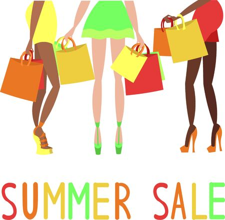 Summer Sale. Seasonal discounts. Girlfriends on shopping. Slender legs in high-heeled shoes. Girls in mini skirts. Multi-colored bags and bags for shopping.