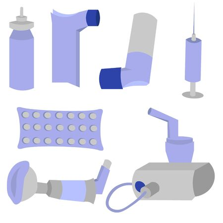 Set of objects for the treatment of asthma. Inhalers, spicer and nebulizer. Pills and injections. Blue medical design. Ilustración de vector