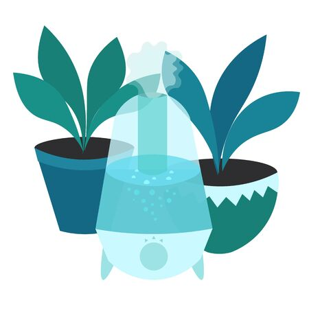Apartment humidifier with flowers. Useful decoration element. Blue harmonious design.