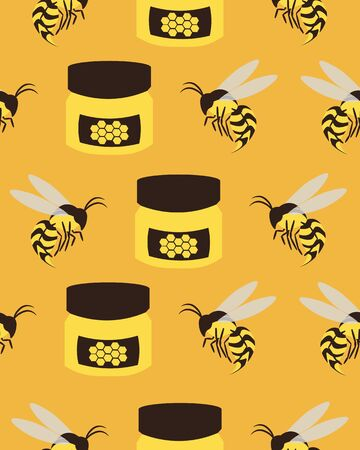 Bees and honey. Yellow seamless pattern. Design for postcards, prints, clothes.