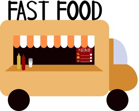 Cafe on wheels. Food truck. Hot dogs, hamburgers and coffee. Food for the party and festival. Minimalistic art. Car.