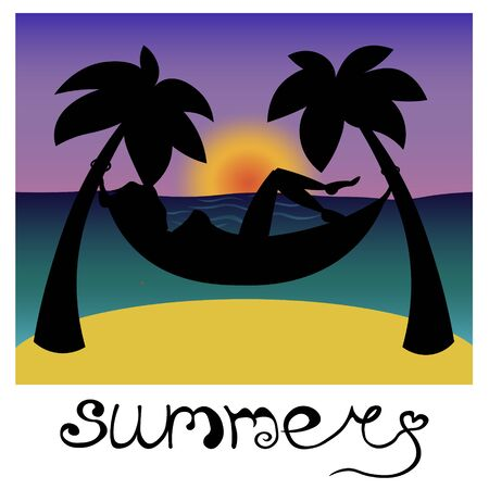 Black silhouette of a person in a hammock on the seashore. A woman is relaxing on the evening beach. Girl is enjoying summer vacation. Lettering.