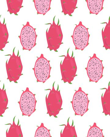 Pitaya. Pink tropical fruit. Summer seamless pattern. Design for postcards, flyers, clothes. Stock Illustratie