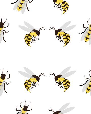 Bees, wasps and gadflies. Summer seamless pattern. Design for postcards, prints, clothes. Registration of medicines and cosmetics. Archivio Fotografico - 149548652
