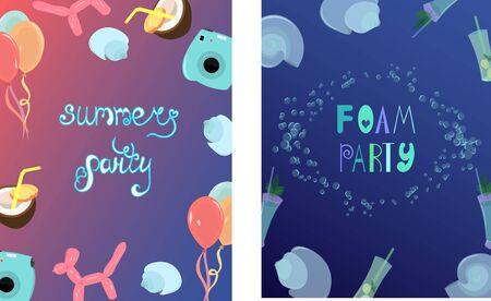 Summer foam party. Bright postcard. Multi-colored balls and a camera. Seashells. Pinacolada and mojito. Design for fraer, invitation and advertising. Illustration