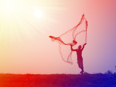 avocation: Silhouette of traditional fishermen throwing net fishing lake at sunrise time. Stock Photo