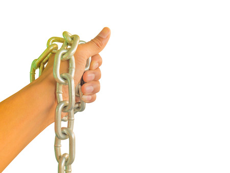 hand chained with iron chain, isolated on white background Stock Photo