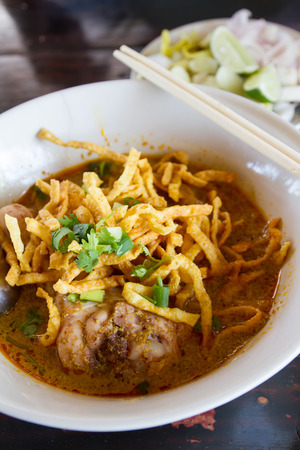 Khao Soi, Northern Thai Noodle Curry Soup - Northern Thai traditional food photo