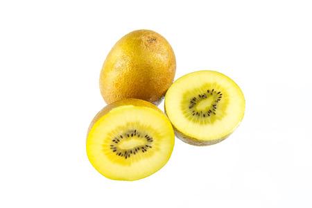 yellow gold kiwi fruit isolated on white background photo