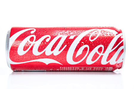 soft drinks: CHIANG MAI, THAILAND - FEBRUARY 22, 2015: Coca-Cola can isolated on white background. Coca-Cola is the most well-known soft drink in the world.