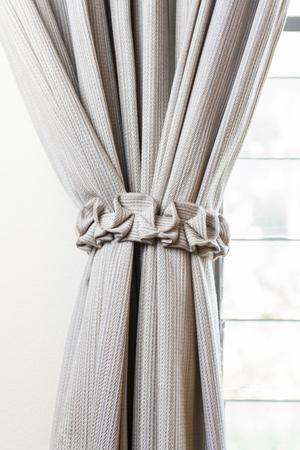 white curtain: white curtain near a window Stock Photo