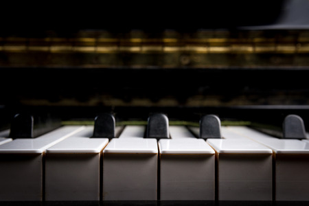jazz background: piano keyboard, closeup view - selective focus Stock Photo