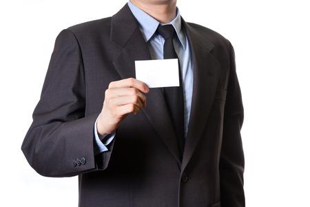 show business: business man show business card isolated on white background