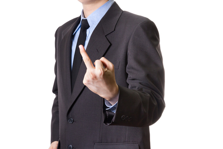 middle finger: business man give middle finger isolated on white background