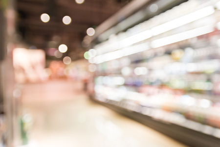 convenience: blur supermarket convenience store product shelf with bokeh for background