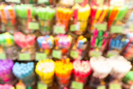 office supply: blur office supply shelf department store with bokeh for background Stock Photo