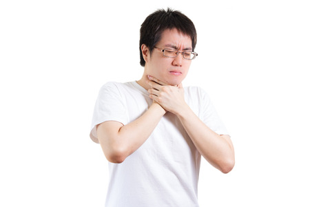 suffer: man suffer from a throat pain isolated on white background