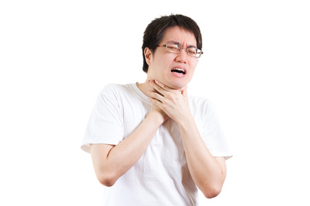 human hands: man suffer from a throat pain isolated on white background