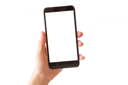 hand holding mobile smart phone with blank white screen isolated on white background