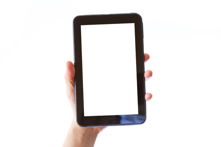 hand holding tablet computer with blank white screen isolated on white background Stockfoto