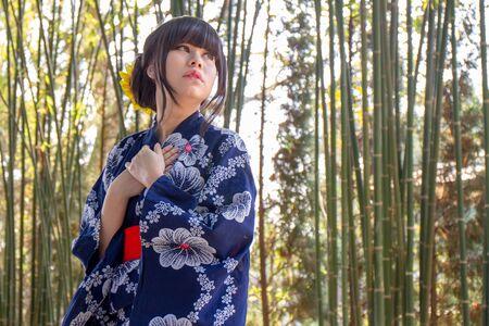 asian girl in japanese traditional casual summer costume kimono yukata
