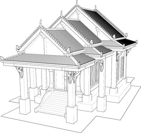 Architectural design, the small temple in Thailand  photo