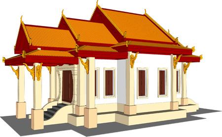 shire: Architectural design, the small temple in Thailand