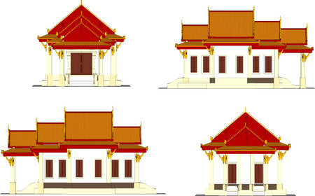 Architectural design, the small temple in Thailand