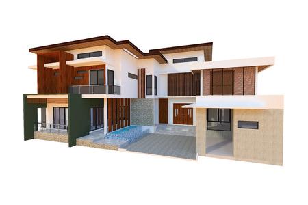 2 storey modern home design 写真素材
